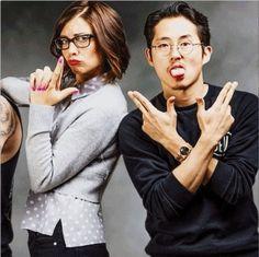 Lauren Cohan  and Steven Yeun - TWD cast #TheWalkingDead