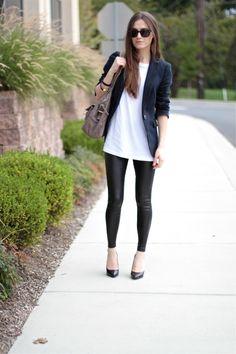 navy blazer, white shirt, leather leggings