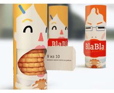 Bla Bla Biscuits label comes off to reveal the cookies right in the mouth of the design. #Innovative #PackageDesign