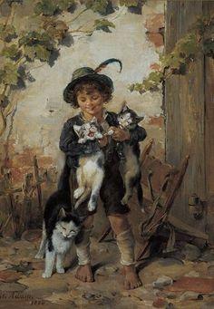 """Boy with Cats"" -- by Julius Adam II (1852--1913, German)"