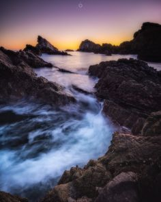 First Colours - A long exposure, landscape image of rocks at low tide on the shore of Portknockie in Morayshire, Scotland, at sunrise.  https://youtu.be/Yrvb-z_QpOc