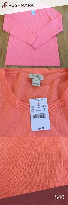 J Crew sweater Love this coral color! Bought this last year and it's been sitting in my closet because I didn't realize it is part wool, which I can't wear. 😥 J. Crew Sweaters Crew & Scoop Necks