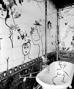 Bathroom decorated by Saul Steinberg for one of his friend's apartment, Paris (1955) #saulsteinberg #inspiration #bathroom