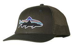 Sport the most recognizable fish in the world on the high-crown Patagonia  Fitz Roy Trout Trucker Hat  it s made of organic cotton canvas and  polyester mesh. 06857cc4beaf