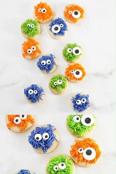 FUZZY MONSTER HALLOWEEN COOKIES -- bite-size, fun cut-out sugar cookies with frosting. Cute and easy Halloween cookies for your party.