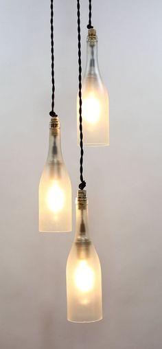 DIY Pendant Bottle Lamps via ParisEnvy - Ideal Design for Kitchen Bar, Coffee Shop
