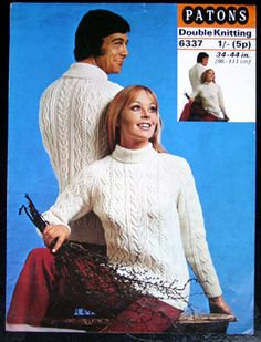 90e087c35f1 Patons 6337 - ladies and gents aran jumpers - vintage knitting pattern