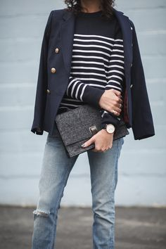 Stripe sweater and double-breasted blazer petite