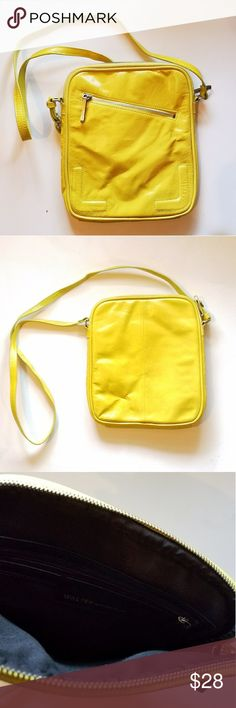 "Leather Crossbody bag Walter by Walter Baker Yellow Crossbody Exterior Zip compartment Interior zip pocket Med to Large size bag Good condition 12""L x 10"" W Strap 23"" Depth 2"" Walter Baker Bags Crossbody Bags"