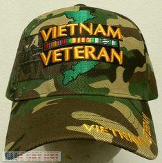 CAMO VIET NAM VIETNAM VETERAN VET CAMPAIGN SERVICE RIBBON WAR ERA MAP CAP  HAT OS   85c4ce82117