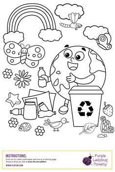 FREE Earth Day Coloring Page by Purple Ladybug Novelty Practice your kid's coloring skills and teach them how to take care of the environment by our FREE Earth Day coloring page! Earth Day Worksheets, Earth Day Activities, Craft Activities For Kids, Color Activities, Earth Day Coloring Pages, Coloring Book Pages, Coloring Sheets, Kindergarten Coloring Pages, Kindergarten Colors