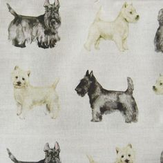 """""""Woof"""" wallpaper and fabric. Crafts Beautiful, Westies, Scottie, Fabric Design, Home Accessories, Fabrics, Illustrations, Wallpaper, Phone"""