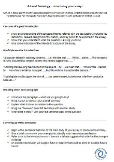 Essay structure for sociology