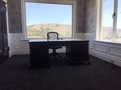 Partner's Desk with Victorian Office Chair Traditional Victorian Office Chairs, Partners Desk, Corner Desk, Traditional, Antiques, Furniture, Home Decor, Corner Table, Antiquities