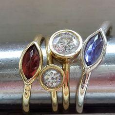 14 k Gold Ring Engagement Birthstone Ring von VenexiaJewelry