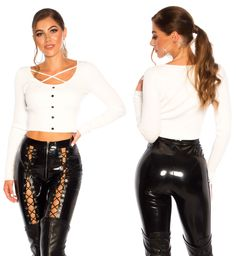 Ára: 4.990 Ft Latex Pants, Wet Look Leggings, Crop Tops, Leather, Fashion, Moda, Fashion Styles, Fashion Illustrations, Cropped Tops