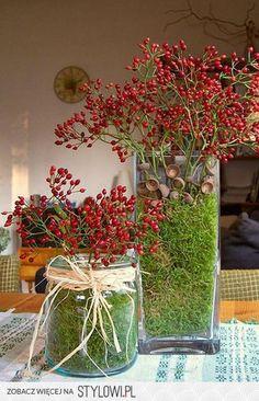 Zet diverse vazen bij elkaar ..... nodig : mos - takken met besjes - lege dopjes van eikels -lint en zie hoe leuke herfst decoratie je om tovert in je huis .