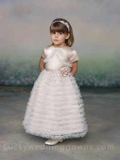 Two-piece Tea-length Flower Girl Dress with Tiered Ruffled Skirt