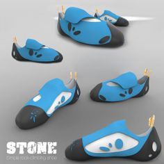 """Renderings of """"Stone"""", a simple rock-climbing-shoe, made with Rhinoceros and Keyshot. Enjoy! Stay on hold for next week."""