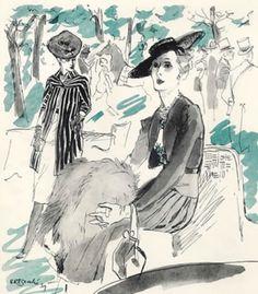 Illustration by René Bouché, 1939, Beghum Aga Khan.