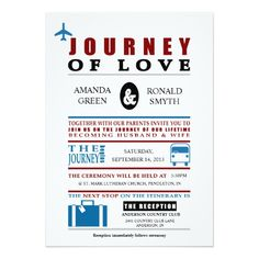 "Vintage Travel Themed ""Journey of Love"" Wedding Announcement Invite Invitation Card"
