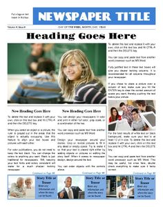 """Sleek looking front page, all purpose news template. Try this 11""""x14"""" newspaper template now using our Free Cloud Designer: www.makemynewspaper.com/free-newspaper-templates"""