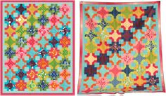 Color My World (EQ design left, finished quilt right) by Elizabeth Dackson, Quiltmaker's Jan/Feb '13 issue, available at shopquiltmaker.com