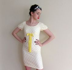 Vintage 1960s White Summer Dress with Yellow by BasyaBerkman