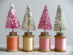 bottlebrush tree pink or mint green Christmas Crafts, Christmas Decorations, Christmas Ornaments, Holiday Decor, Magic Memories, Bottlebrush, Wooden Spools, One Tree, Kitsch