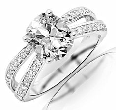 1.4 Carat GIA Certified Cushion Cut / Shape 14K White Gold Contemporary Double Row Split Shank Engagement Ring (J Color , VVS1 Clarity) - Size 6