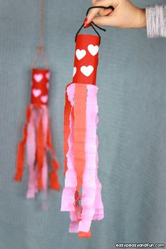 Valentines Day Windsock Toilet Paper Roll Craft - Easy Peasy and Fun - Valentine crafts for kids - Valentines Bricolage, Kinder Valentines, Valentine Crafts For Kids, Valentines Day Activities, Valentines For Kids, Valentines Day Decorations, Valentine's Day Crafts For Kids, Toddler Crafts, Preschool Crafts