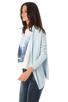 Q2 Blue Cardigan Jacket With Clean Lapel