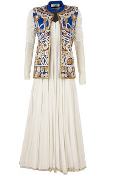 Blue gota jacket with ivory anarkali available only at Pernia's Pop-Up Shop.