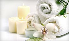 towels, candles, flowers. perfect for spa day