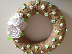 Burlap Wreath with Beautiful White Felt Roses and by astrausa