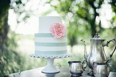 teal striped wedding cake by Queen of Cakes // photo by Athena Pelton