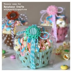 Popcorn and M and M's Filled Cupcake Liners.  Maybe cute for a favor.