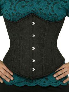 waist trainer cs 345 black brocade corset front