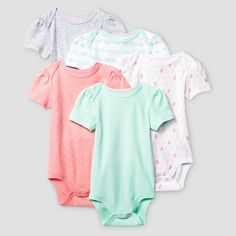 Baby Girls' Short-Sleeve 5 Pack Bodysuit Baby Cat & Jack - Coral/Aquamint NB, Infant Girl's, Size: Newborn, Green