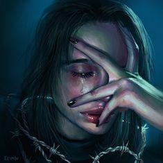 Im crying because of love Digital Art Girl, Digital Portrait, Portrait Art, Cartoon Kunst, Cartoon Art, Art Sketches, Art Drawings, Arte Obscura, Sad Art