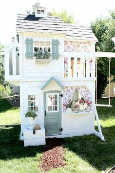 Adorable shabby chic backyard playground set #kidsoutdoorplayhouse