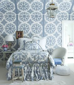 Wallpaper on ceiling. Adorable for small rooms with sloping ceilings. -via Interior Canvas