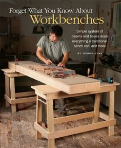 Made from two simple beamsand two sawhorses, Joshs Finns simple, storable workbench is remarkably versatile. Here hes got the beams set up side by side with a stop screwed on for handplaning.Download the free plan to make the sawhorses. - CLICK TO ENLARGE