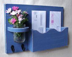 Mail Holder  Double Slots  Key Hooks  Jar Vase  by LegacyStudio, $29.95