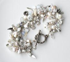 beaded fringe charm bracelet white silver beads charms swarovski jewelry wire wrapped beaded bracelet