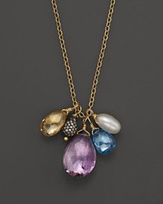 "Amethyst, Cultured Freshwater Pearl, Citrine, Blue Topaz and Pav� Diamond Bead Charm Necklace, 17""_0"