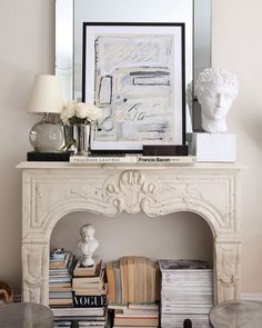 Home Decor Cozy 10 Creative Ways to Store Books (That Arent Bookshelves) Classic and French inspired fireplace mantel decor ideas White Fireplace, Fireplace Mantels, Fireplace Ideas, Fireplaces, Classic Fireplace, Mantles, Home Decoracion, Style Deco, Stack Of Books