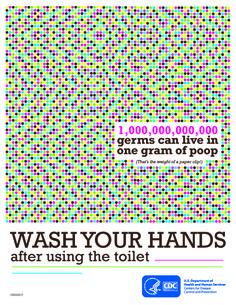 You know you should wash your hands after using the toilet—but do you know why? A TRILLION germs can live in one gram of poop (that's the weight of a paper clip!). Download and share this poster to celebrate National Handwashing Awareness Week. http://go.usa.gov/W7vw