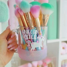 "1,344 Likes, 24 Comments - ✩ѕυѕιє✩ (@pixiedustbeauty_) on Instagram: """"Unicorn Coffee"" mug holding the most Gorgeous Brushes!✨ can't wait for Steph's new brushes to…"""