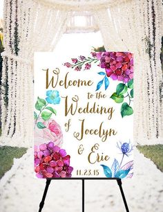 Wedding Welcome Sign Violet  printable welcome sign by Dantell